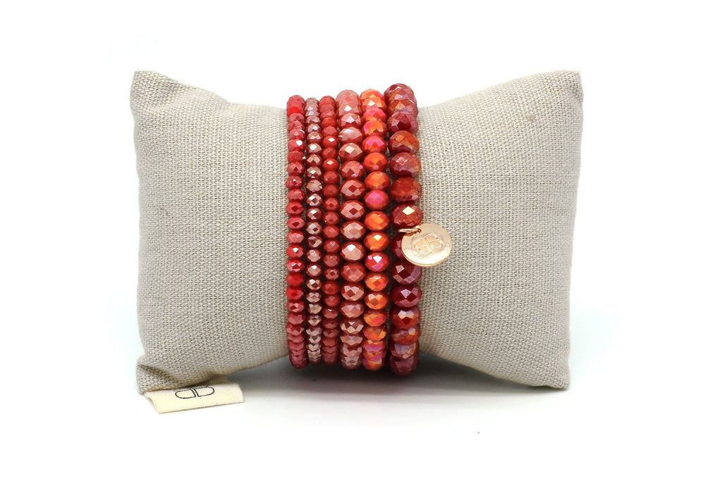 Harp 6 Layered Red Bracelet Stack - Boho Betty