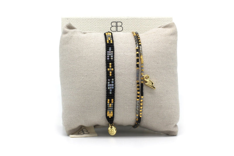 Verona Black 2 Layered Bracelet Stack - Boho Betty