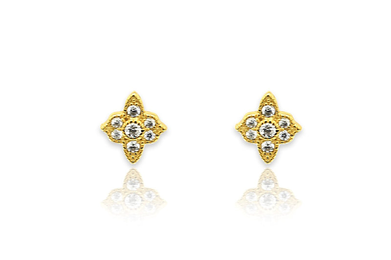 Takia Filigree CZ Gold Stud Earrings - Boho Betty USA