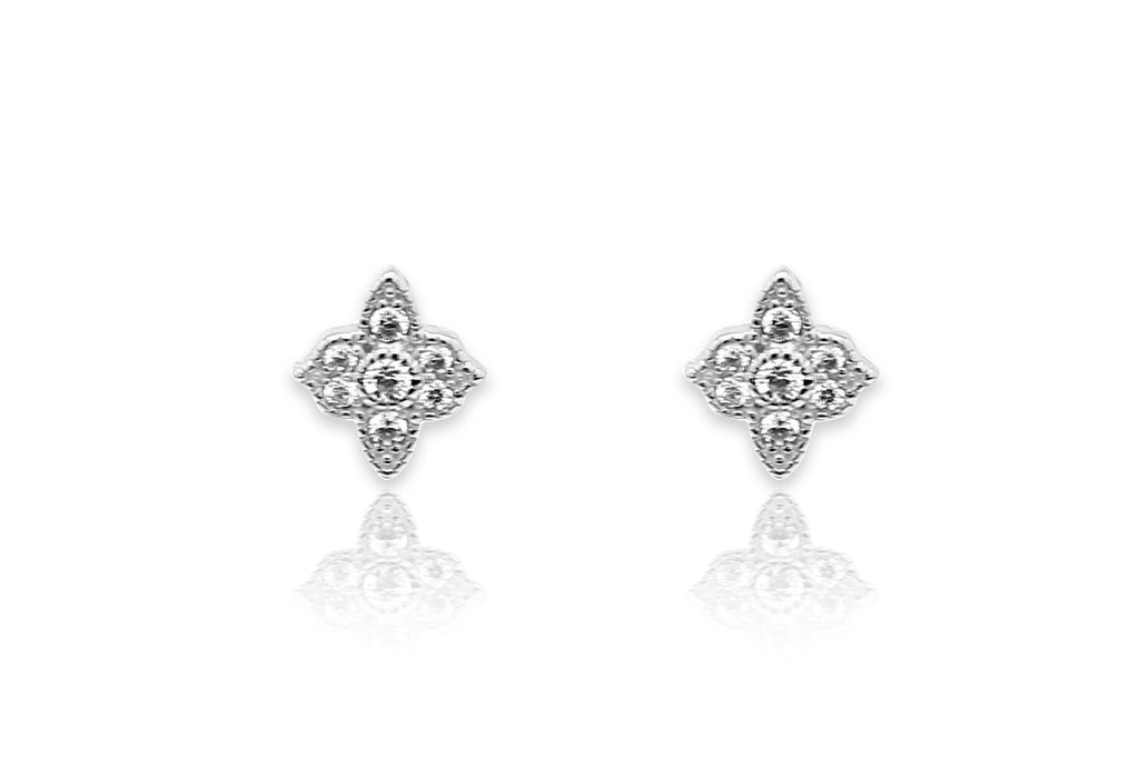 Takia Filigree CZ Silver Stud Earrings - Boho Betty