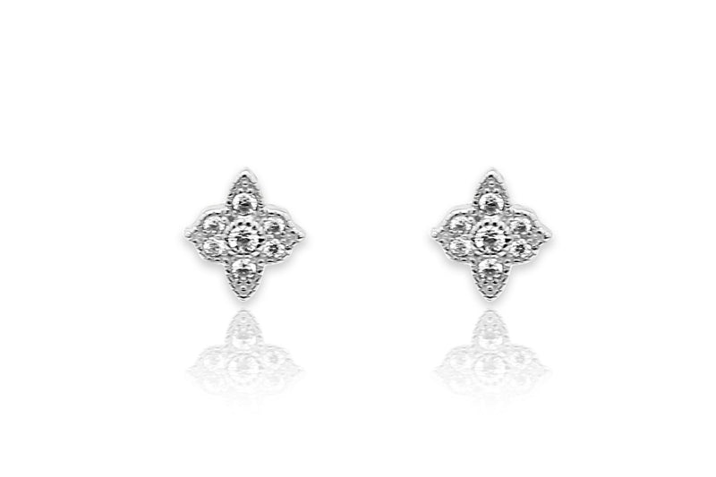 Takia Filigree CZ Silver Stud Earrings - Boho Betty USA