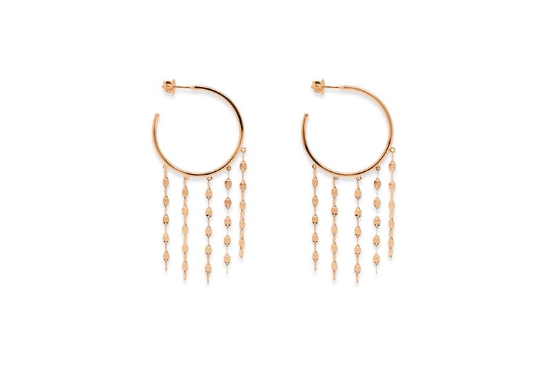 Walters Rose Gold Chain Hoop Earrings - Boho Betty