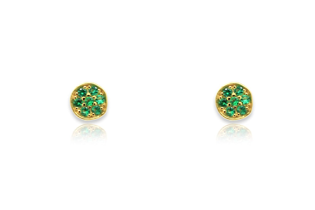 Woodley Green & Gold Disc Stud Earrings - Boho Betty
