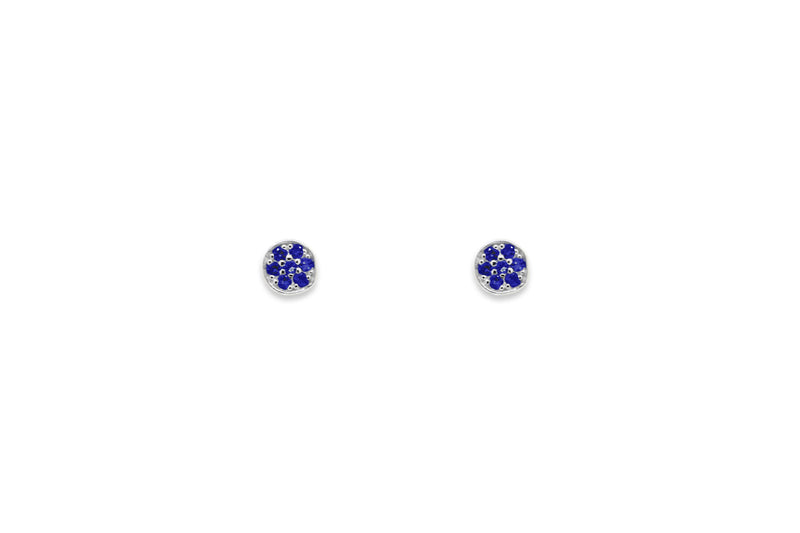 Woodley Blue & Silver Disc Stud Earrings - Boho Betty USA