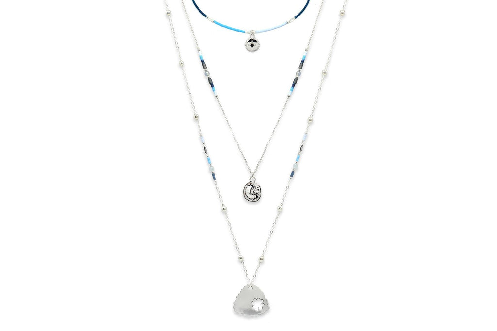 Amar Blue 3 Layered Necklace Set - Boho Betty
