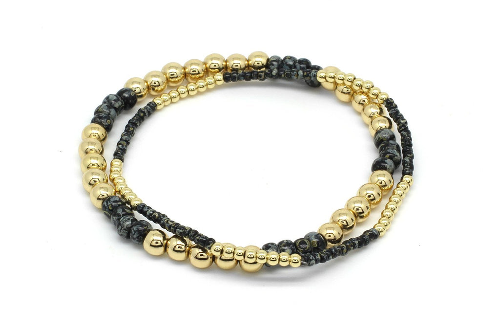 Salema Black & Gold Bracelet Duo - Boho Betty