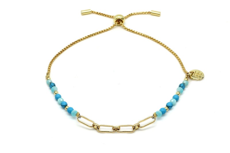 Britas Bay Blue Link Bracelet - Boho Betty