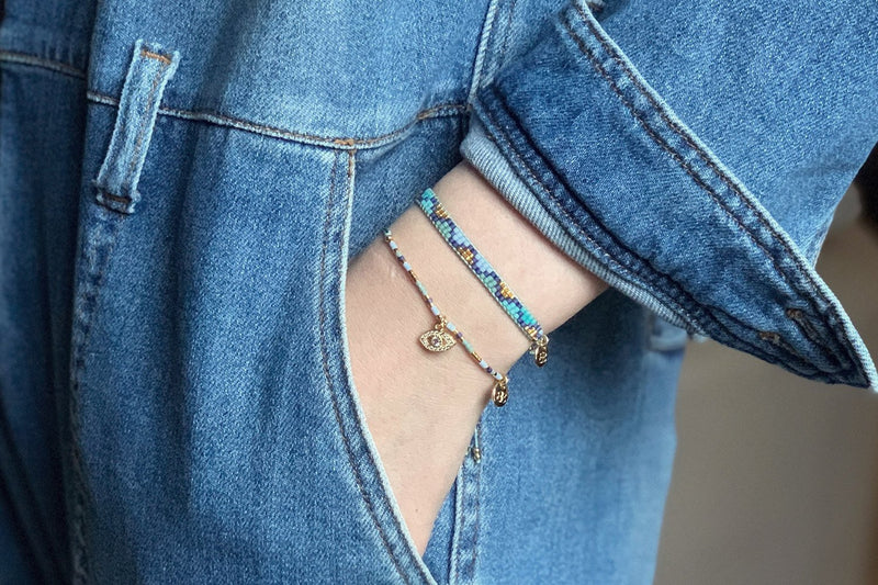 Wahiki Blue Beaded Friendship Bracelet - Boho Betty