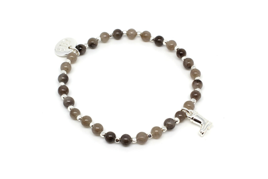 Sitar Grey Semi Precious Labradorite and Agate Stretch Bracelet - Boho Betty