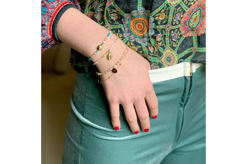 San Blas Multicolour & Gold Double Bracelet - Boho Betty