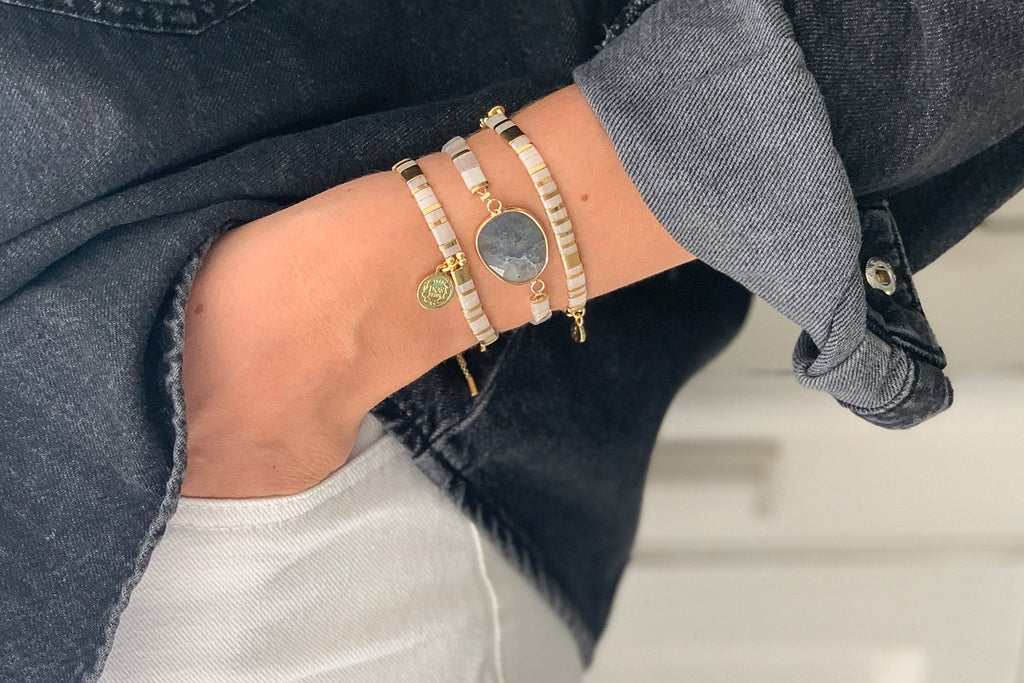 Downtown Pearl Tila Bead Pull Through Bracelet