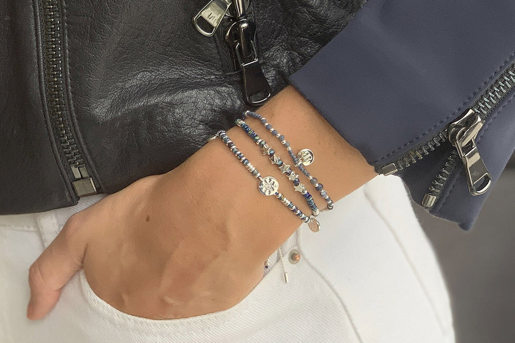 Flute Navy & Grey Gemstone Stretch Bracelet