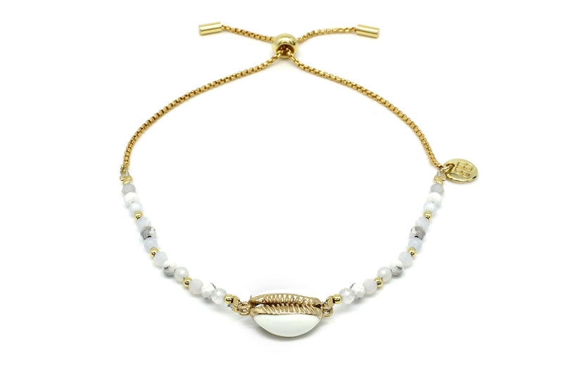 Golden Bay White Shell Charm Bracelet - Boho Betty