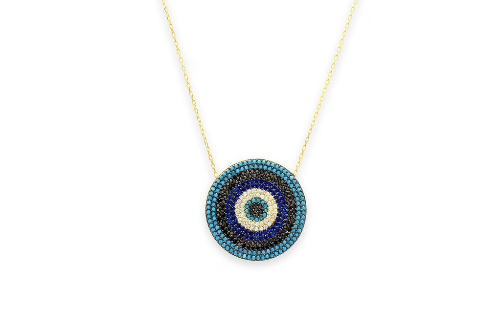 Briottet CZ Gold Midnight Disc Beaded Necklace - Boho Betty