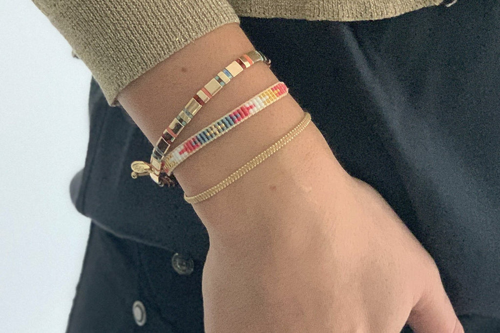 Cancun Multicolour 3 Layered Bracelet Stack - Boho Betty