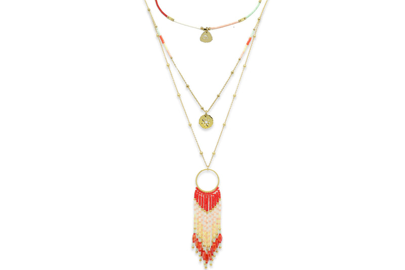 Adrastea Coral Beaded Tassel Necklace - Boho Betty USA