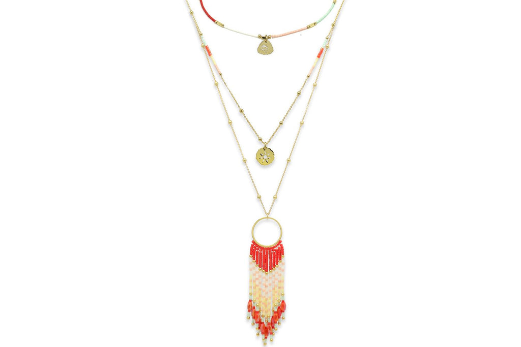 Hypnos Coral Miyuki Beaded Necklace - Boho Betty
