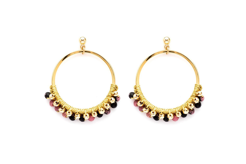 Alboka Gold Semi Precious Stone Hoop Earrings - Boho Betty