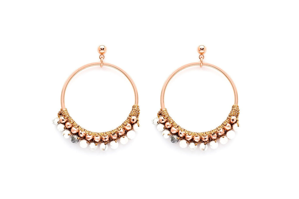 Alboka Rose Gold Semi Precious Stone Bead Hoop Earrings - Boho Betty