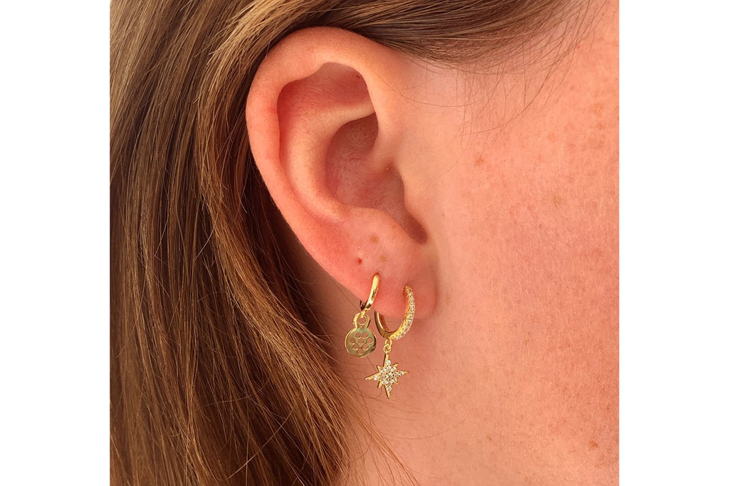 Cohan Gold CZ Star Hoop Earrings