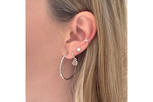 Woodley Clear & Silver Disc Stud Earrings
