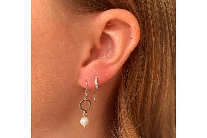 Ritter Silver Pearl & Circle Drop Earrings