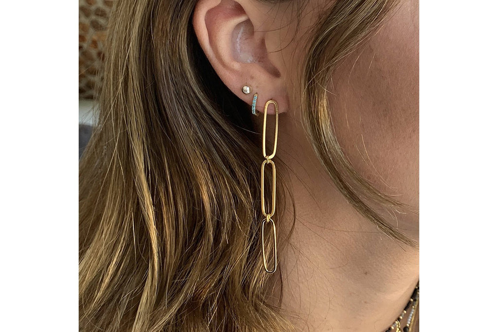 Cruz Gold Triple Link Drop Earrings