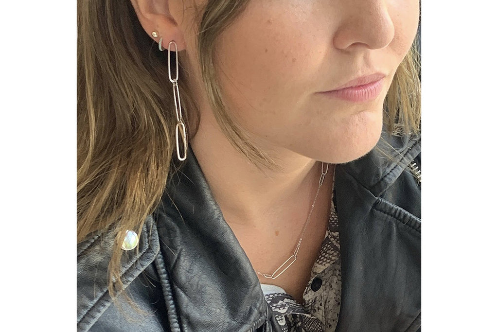 Cruz Silver Triple Link Drop Earrings