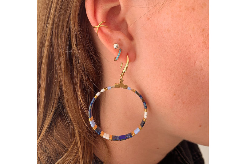 Ella Tila Blue Hoop Earrings