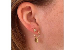 Garo Gold Disc Charm Hoop Earrings