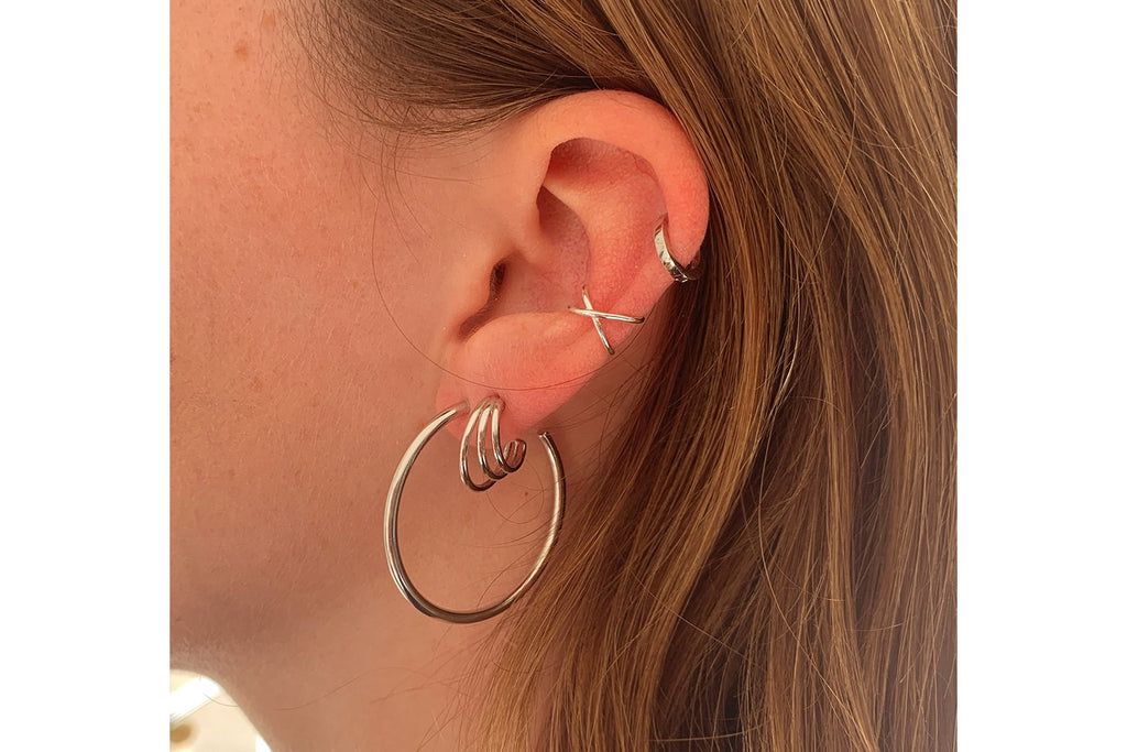 Thurman Sterling Silver Triple Hoop Earrings