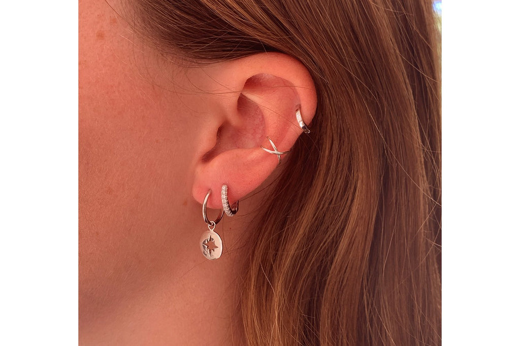 Dorval Silver CZ Hoop Huggie Earrings