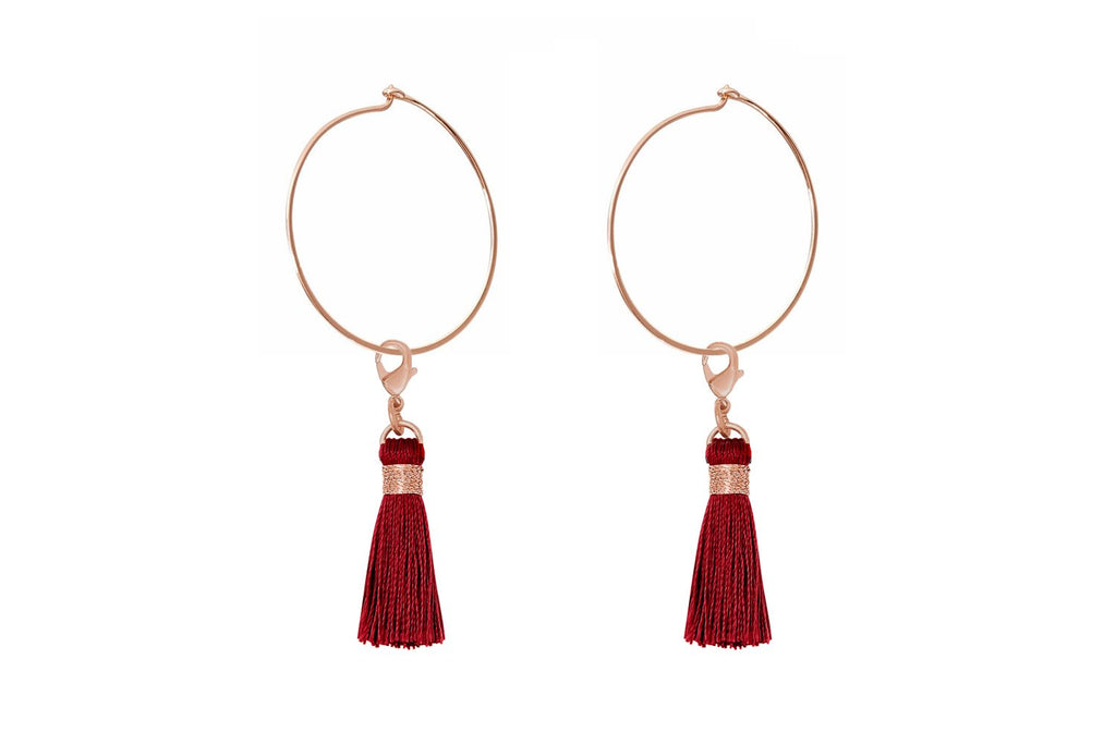 Gavot Rose Gold Red Tassel Hoop Earrings - Boho Betty