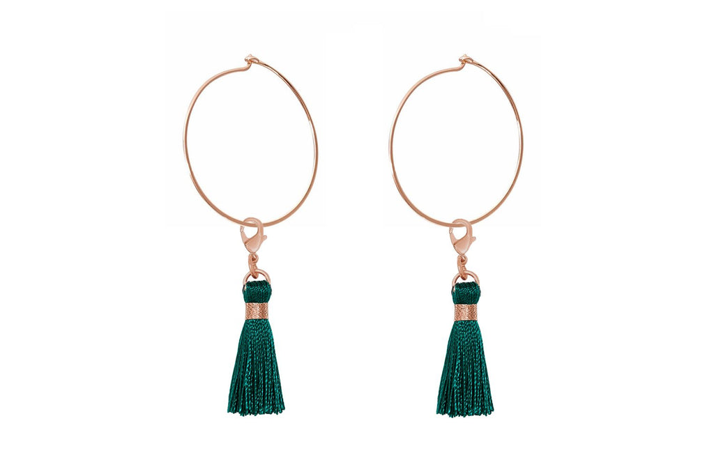 Gavot Rose Gold Green Tassel Hoop Earrings - Boho Betty