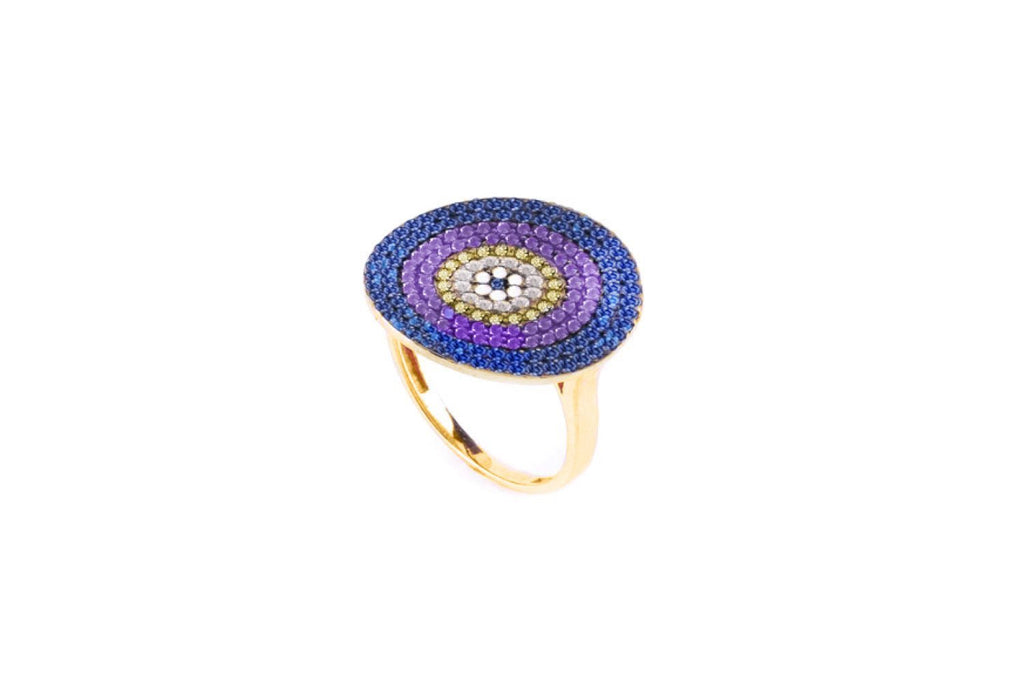 Grande  CZ Indigo Beaded Ring - Boho Betty