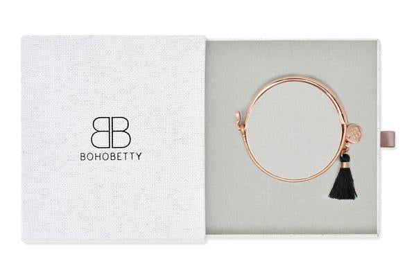Haine Rose Gold Tassel Bangle Gift Set - Boho Betty