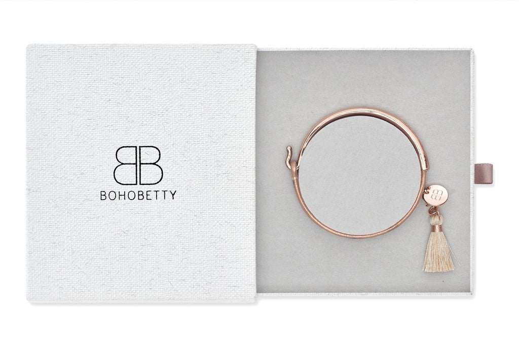 Haine Rose Gold Leather Tassel Bangle Gift Set - Boho Betty
