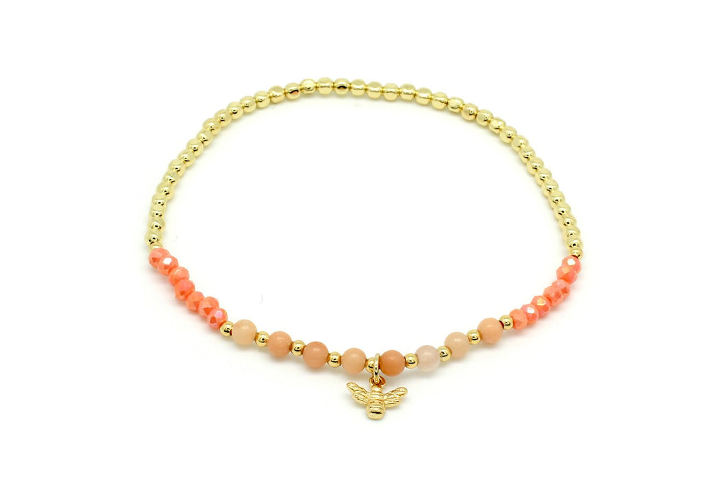 Kiwi Coral Stretch Bee Bead Bracelet - Boho Betty