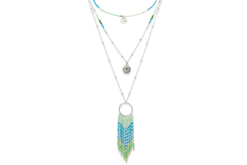 Galateia Mint Green Starburst Beaded Necklace - Boho Betty