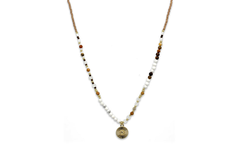 Hotei Natural Beaded Necklace - Boho Betty