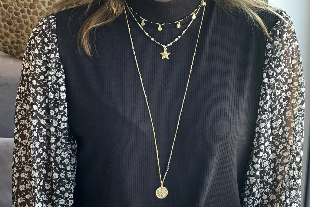 Boreas Black & Gold 3 Layering Necklace Set
