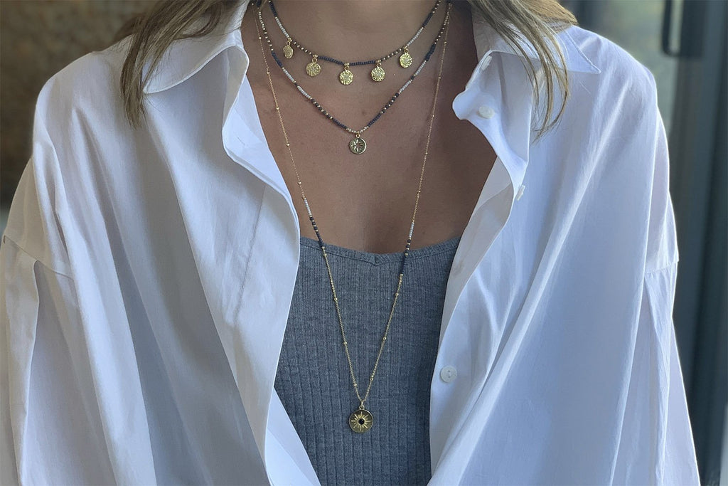 Hebe Navy & Gold Long Beaded Necklace