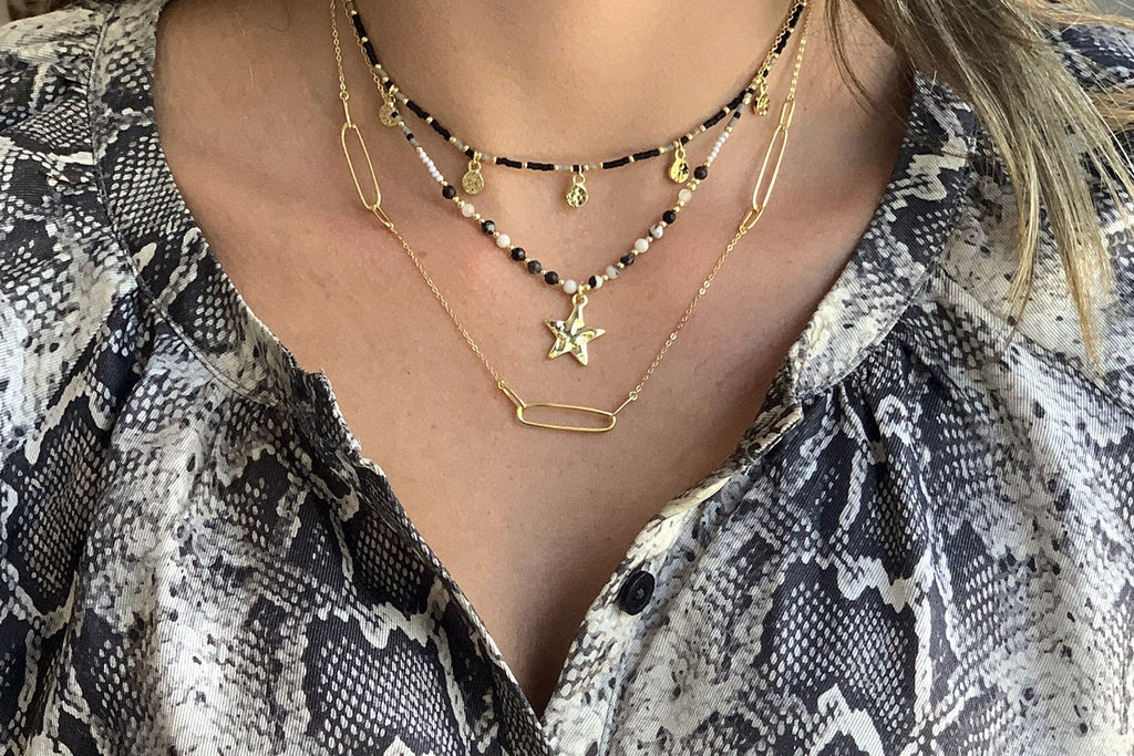Chandra Black & Gold Star Charm Necklace