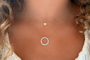 Marnier Gold Clear Disc Necklace