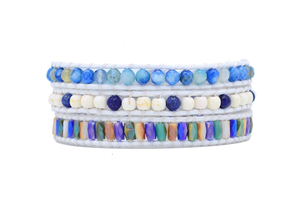 Nicosia Blue Leather 3 Wrap Bracelet - Boho Betty