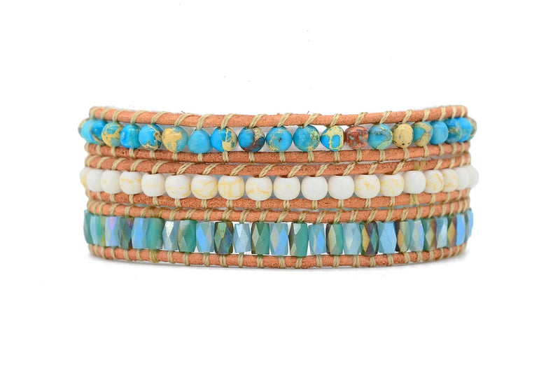 Nicosia Mint Leather 3 Wrap Bracelet - Boho Betty USA