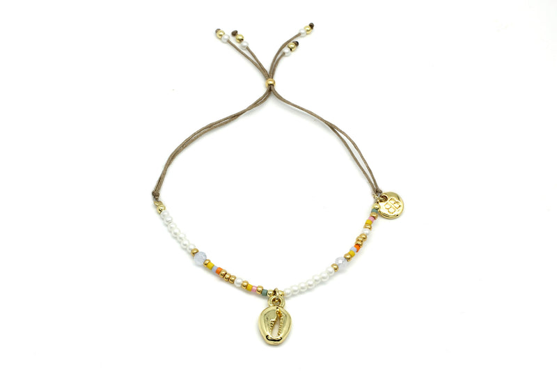 Tiwi Pearl & Shell Charm Beaded Bracelet - Boho Betty