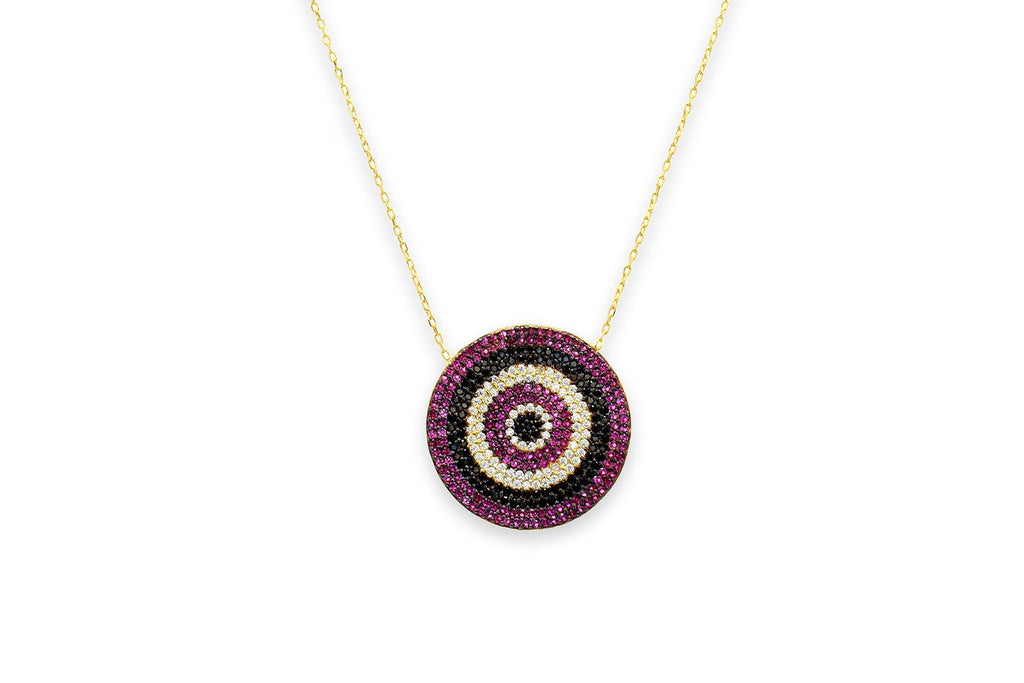 Prosecco CZ Disc Pink Beaded Necklace - Boho Betty