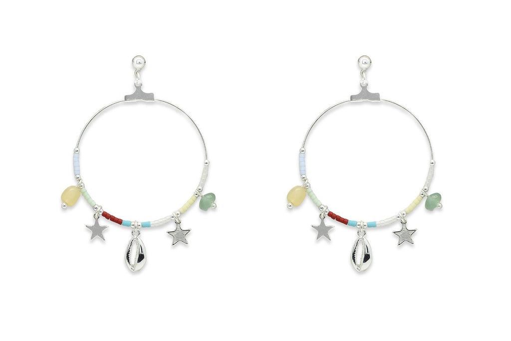 Pequi Multicolour & Silver Charm Hoop Earrings - Boho Betty
