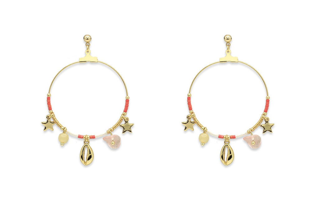Pequi Coral & Gold Charm Hoop Earrings - Boho Betty
